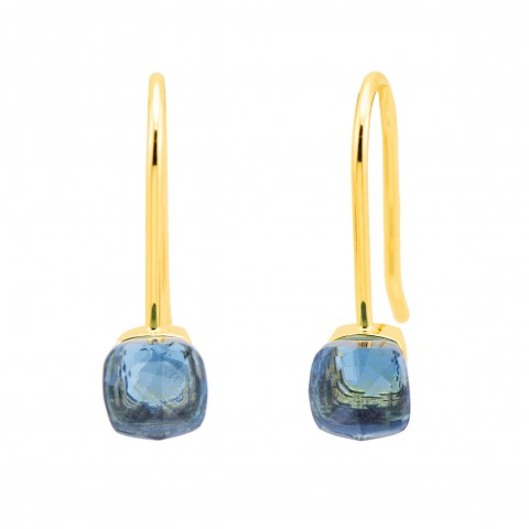 EARRINGS NEW with silver gold plated and blue crystal