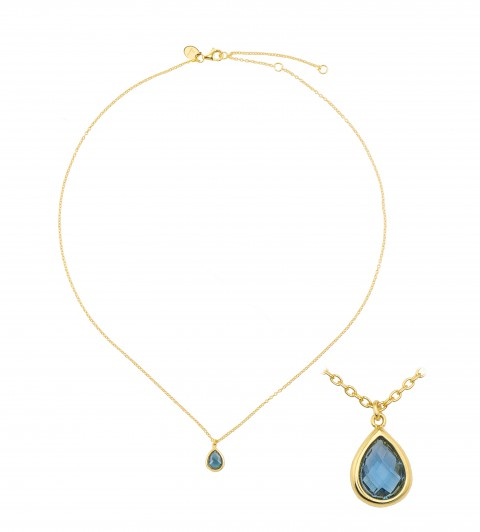 NECKLACE  gold plated with blue crystal